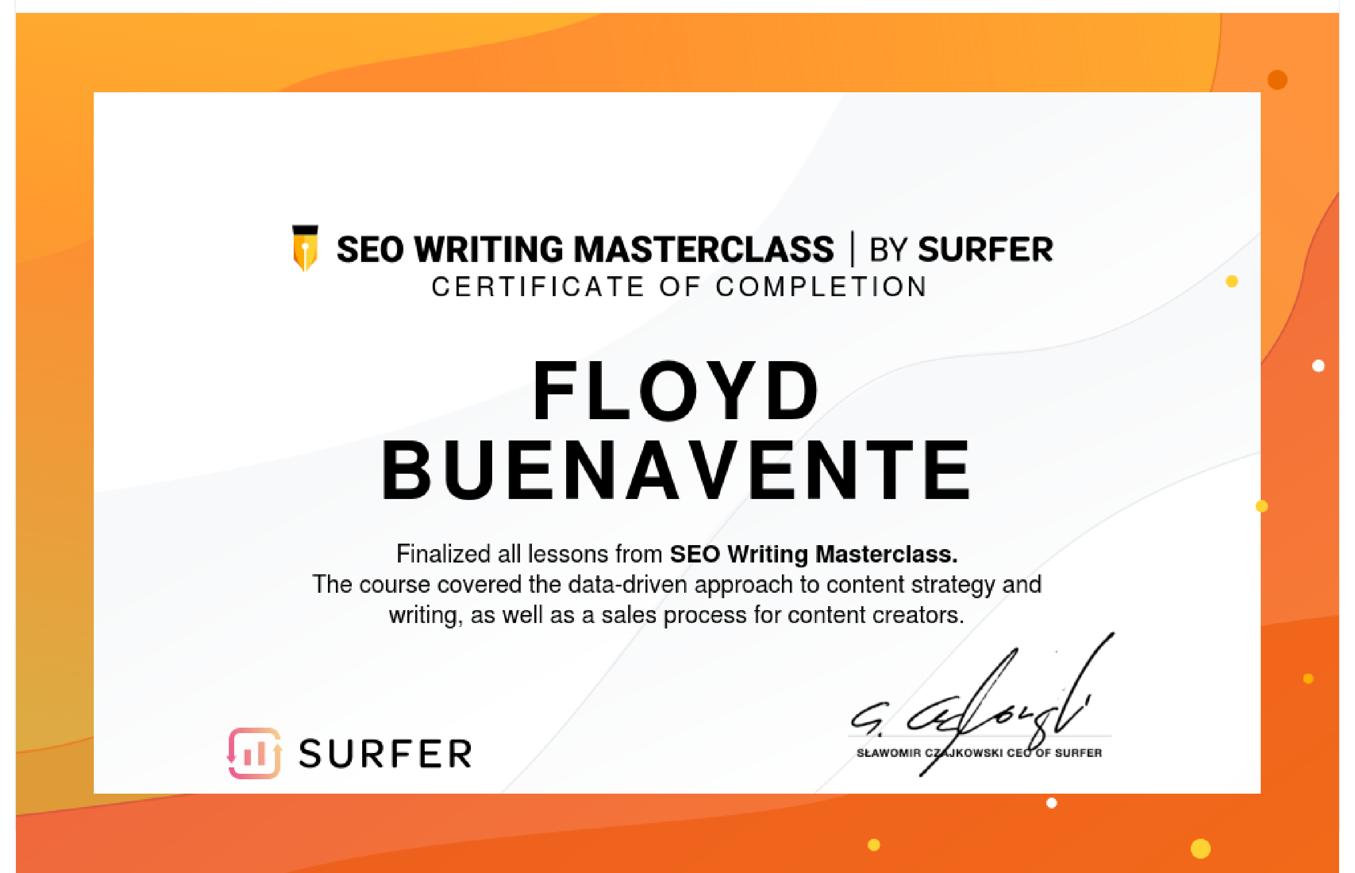 certificate of completion for seo writing masterclass
