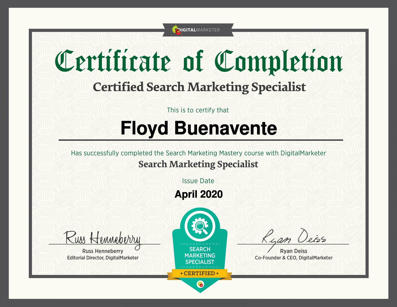 floyd buenavente search marketing mastery certificate